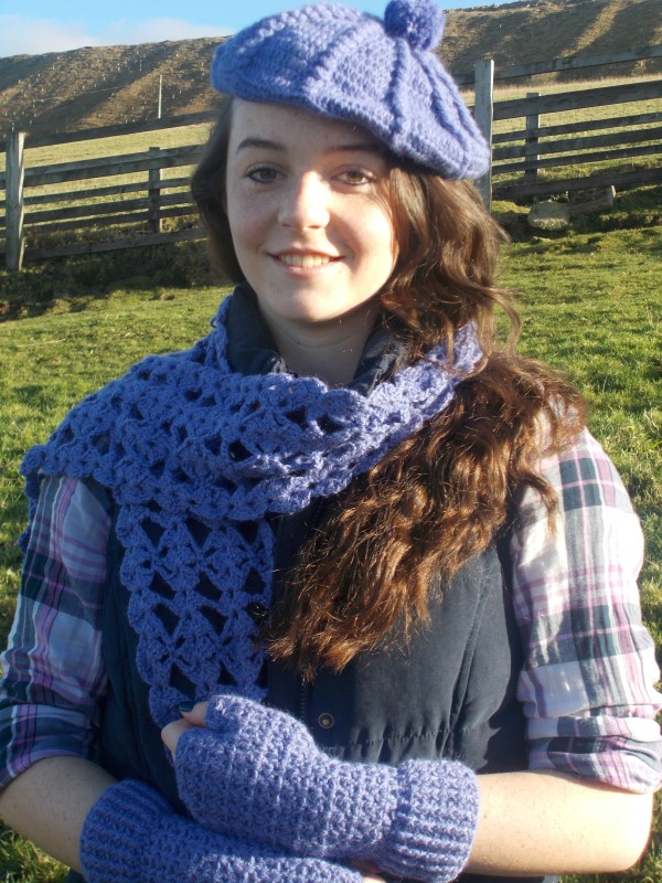 Products for Sale - Beret, scarf and mitts, baby alpaca and silk
